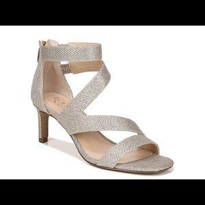 Franco Sarto Celia Heeled Sandal-Platinum NWT